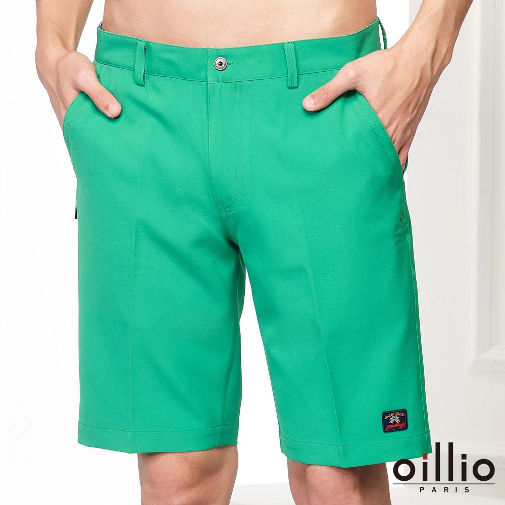 oillio歐洲貴族 休閒短褲 質感褲款 電腦刺繡 綠色