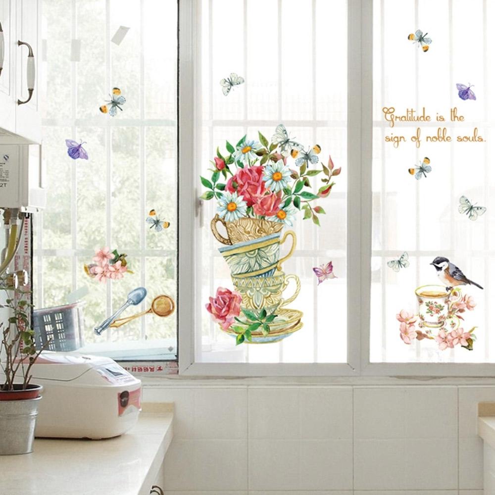 半島良品 DIY北歐風無痕壁貼 SK7114-彩繪花朵杯子盆栽 50x70