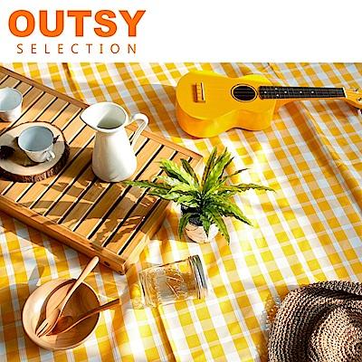 【OUTSY嚴選】戶外兩用防水桌巾/野餐墊 特大款(黃白細格)