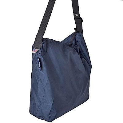 可收納式拉鍊托特包 - 肩背斜背兩用 深藍
