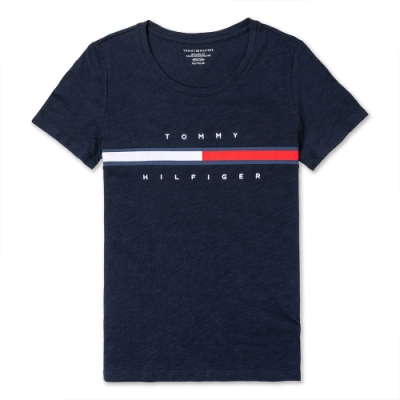 TOMMY 經典刺繡大LOGO文字短袖T恤 (女)-深藍色