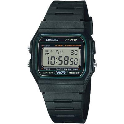 CASIO 復古潮流魅力電子錶-綠框(F-91W-3)/28.5mm