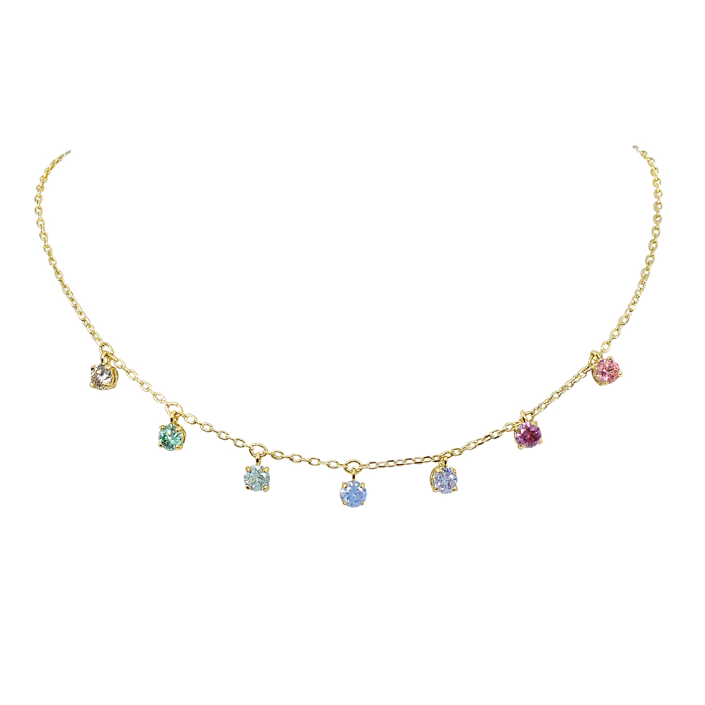 SWAROVSKI 施華洛世奇 璀璨多色水晶造型可調整金色項鍊