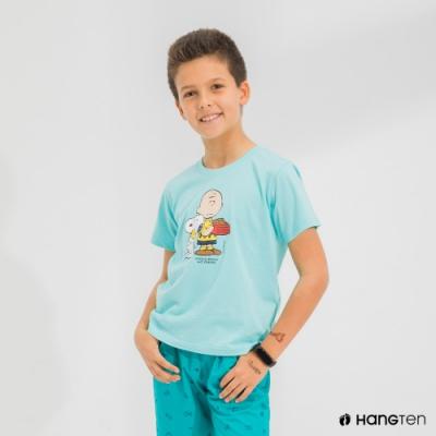Hang Ten-男童-Charlie Brown趣味印花短袖T恤-綠色