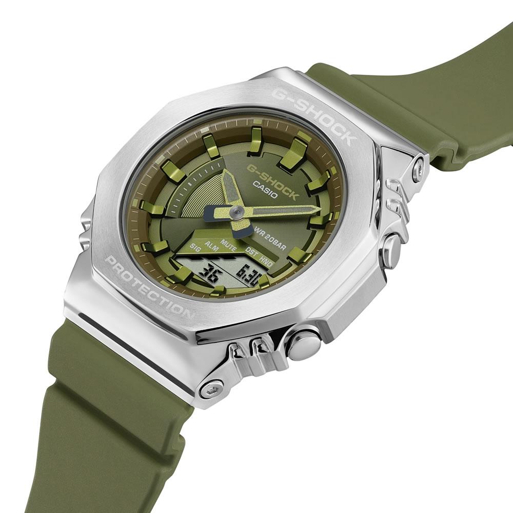 CASIO卡西歐 G-SHOCK 玩美時尚 橄欖綠 金屬錶殼 八角形錶殼 GM-S2100-3A_40.4mm