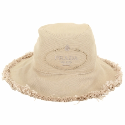 PRADA Canvas 家徽刺繡標誌帆布鬚邊漁夫帽(卡其色)