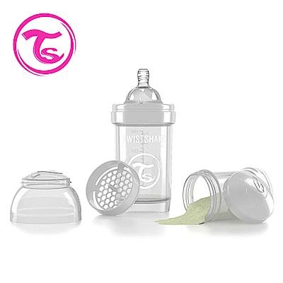 Twistshake 瑞典時尚 彩虹奶瓶/防脹氣奶瓶180ml/奶嘴口徑0.3mm-星鑽白