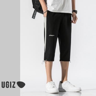 UGIZ-型男邊條點綴印花造型褲-2色(M-3XL)