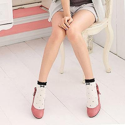 華貴 蝴蝶結點點立體織造型短襪-12雙 (MIT)