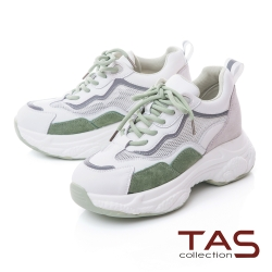 TAS真皮拼接網布厚底老爹鞋-復古綠