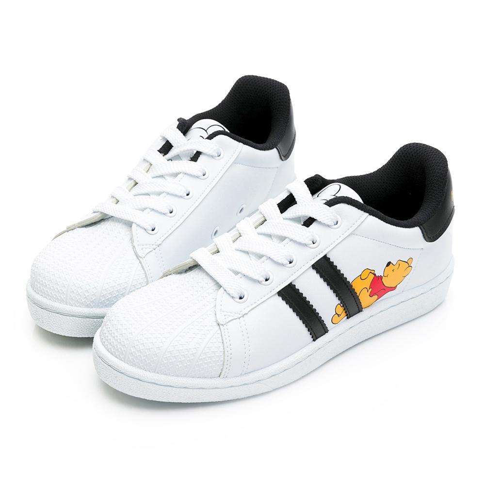 DISNEY維尼條紋貝殼小白鞋-白黑-DW61131C