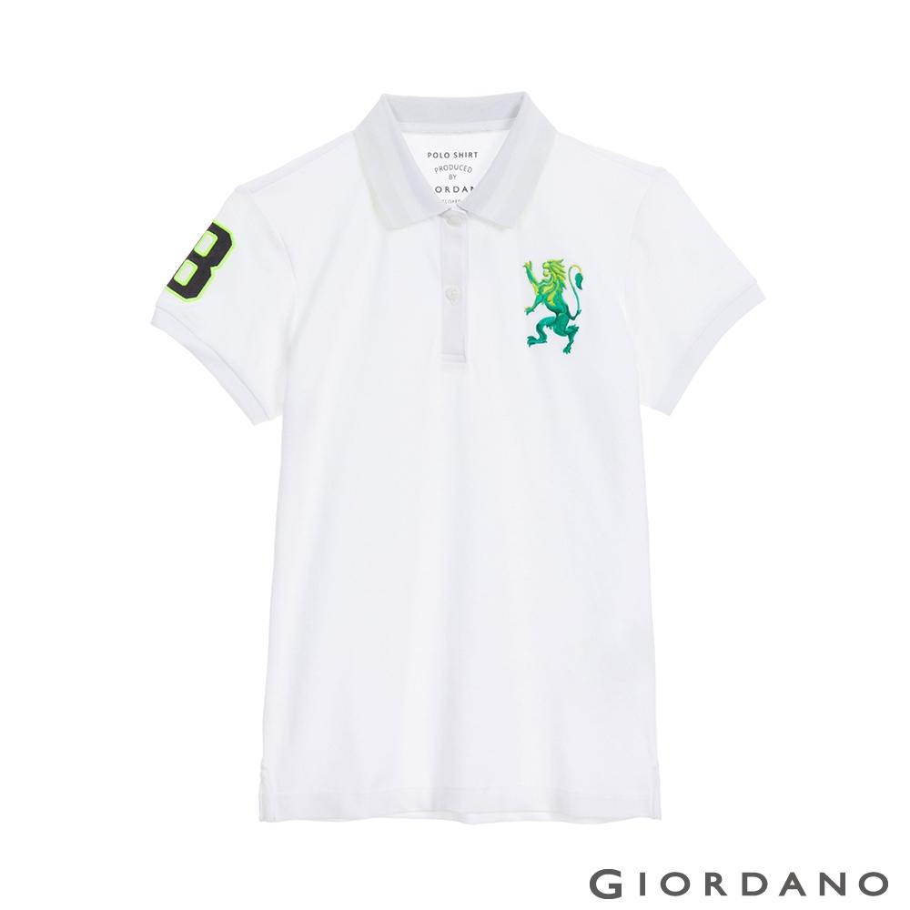 GIORDANO  女裝勝利獅王刺繡POLO衫 - 01 標誌白