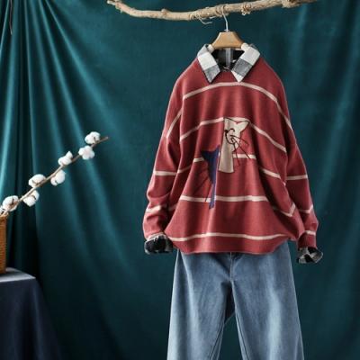 貓咪提花螺紋卷邊圓領毛衣寬鬆條紋針織衫-設計所在