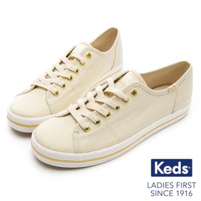 Keds KICKSTART 耀眼珠光綁帶休閒鞋-奶油白