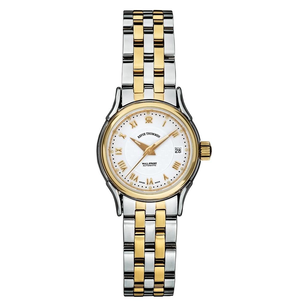 (福利品) REVUE THOMMEN 梭曼錶 華爾街系列機械女錶 米色錶面x不鏽鋼間金鍊帶/24.5mm (20501.2142)