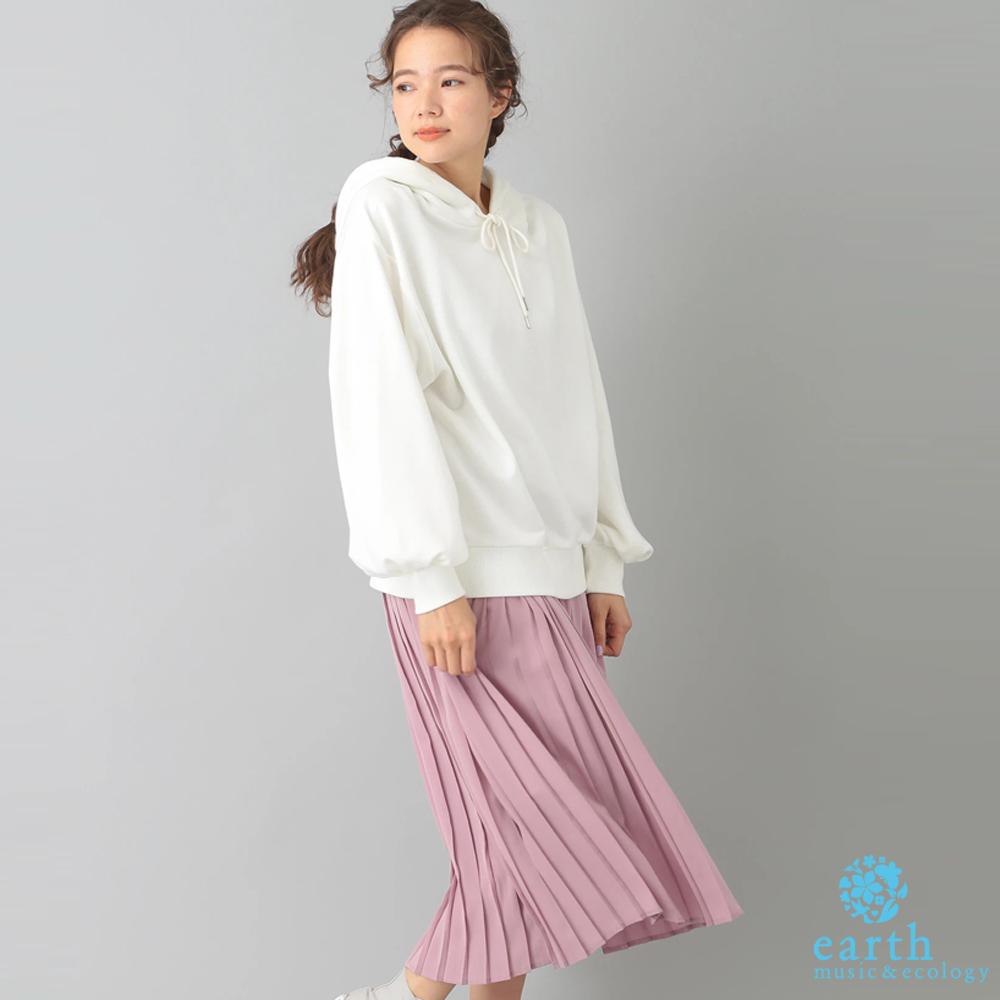 earth music 【SET ITEM】素面帽T上衣+百褶裙