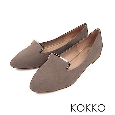 KOKKO -心之所向金屬邊手工柔軟平底鞋-漠然灰
