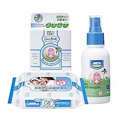 貝恩夏日防護優惠組 (防蚊貼片+嬰兒防蚊噴液/100ml+濕巾20抽)