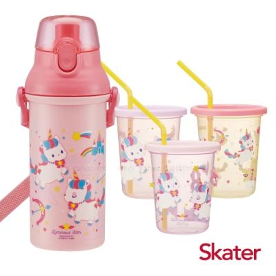 Skater日本製直飲冷水壺+3入杯蓋水杯-獨角獸