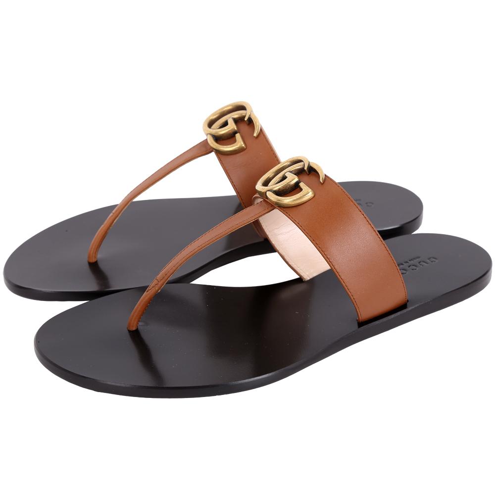 GUCCI GG Thong 仿舊黃銅夾腳拖鞋(棕色)