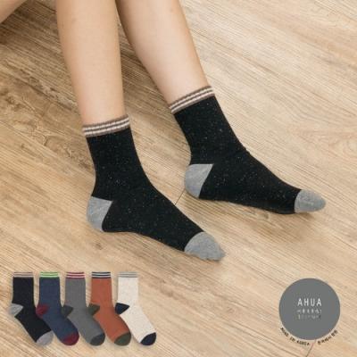 阿華有事嗎  韓國襪子 雙條紋復古彩點中筒襪  韓妞必備 正韓百搭純棉襪