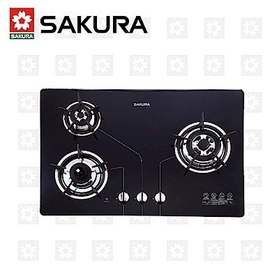 櫻花牌 SAKURA 三口防乾燒節能檯面爐 G-2830KG 天然瓦斯 限北北基配送