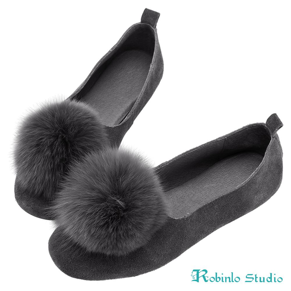Robinlo 大地色毛絨球球娃娃鞋 灰