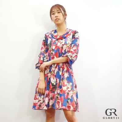 GLORY21 七分袖印花洋裝(附腰帶)