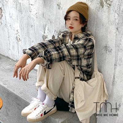 配色格紋寬版襯衫-TMH