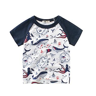 男童 中小童 歐美風格舒柔棉短袖T恤-鯨鯊家族