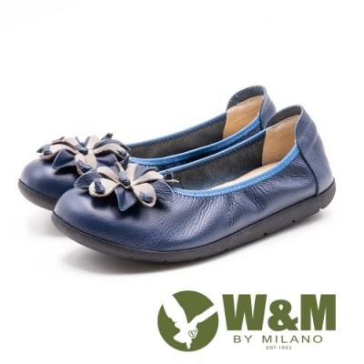 W&M 圓頭百搭 典雅梧桐花平底鞋-藍色(另有藕灰)