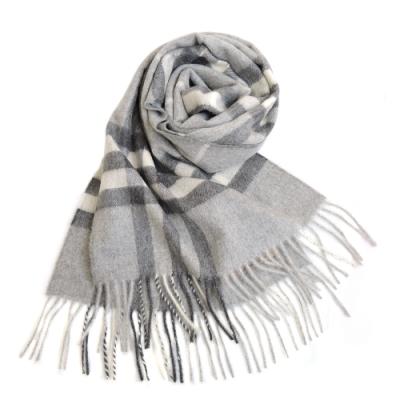 BURBERRY 經典格紋100% 喀什米爾羊毛圍巾(淺灰)