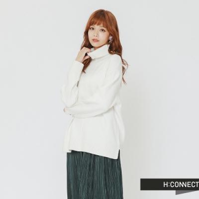 H:CONNECT 韓國品牌 女裝 - 純色質感高領針織上衣-白(快)