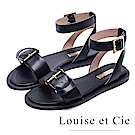 Louise et Cie 金屬釦寬版繞踝平底涼鞋-黑色
