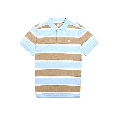 Timberland 男款藍綠條紋純棉短袖Polo衫 | A19FL940