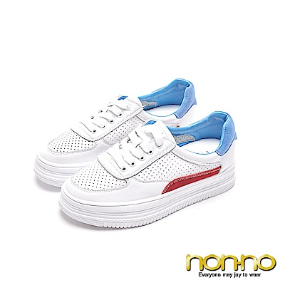 nonnon 簡約有型 紅白藍布鞋 白