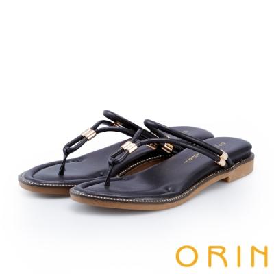 ORIN 流線細版皮革平底夾腳拖鞋 黑色