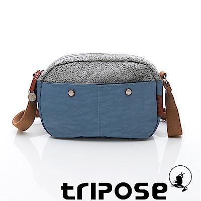 tripose 漫遊系列 岩紋x微皺尼龍斜背包 水藍