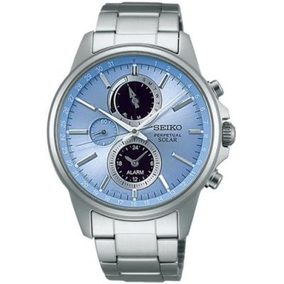 SEIKO 精工SPIRIT 萬年曆多功能計時腕錶-藍41mm(SBPJ001J)