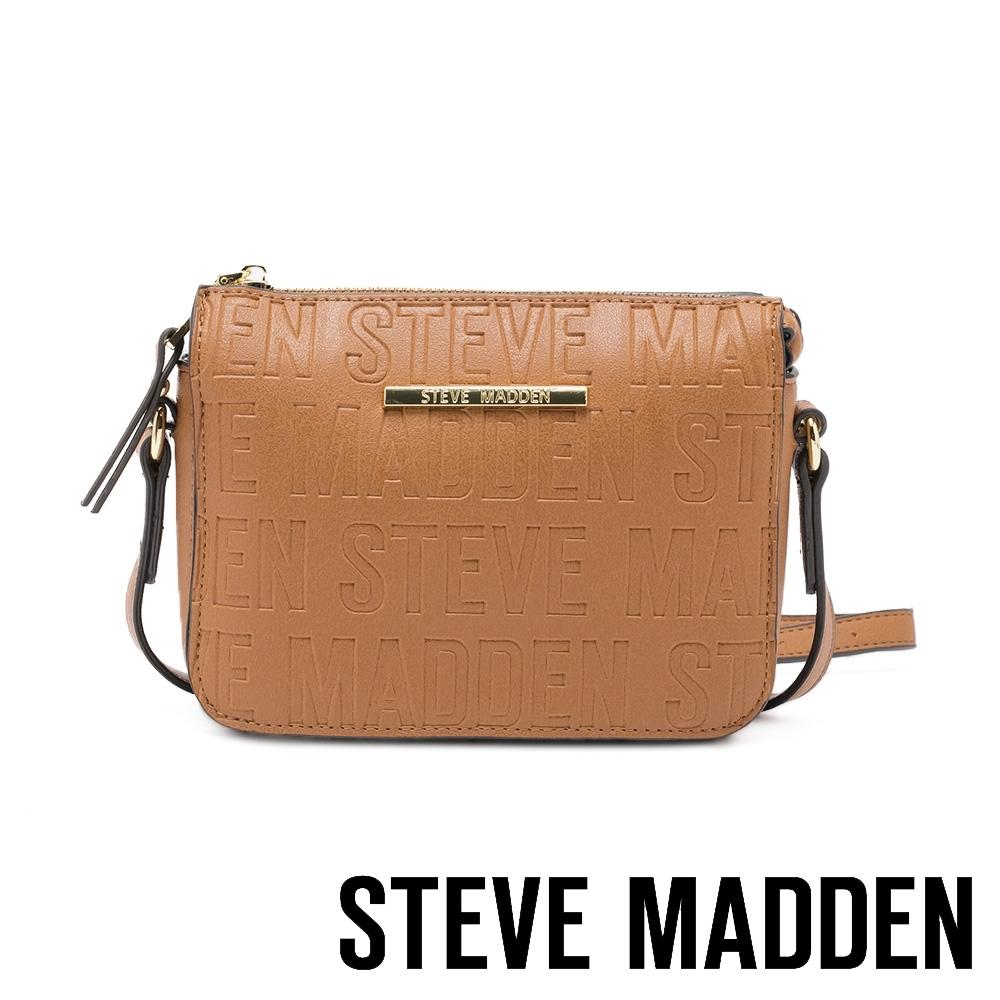STEVE MADDEN-BCUBA 品牌壓紋拉鍊側背斜背包-咖啡色