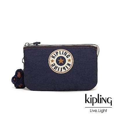 Kipling 致敬經典復古深藍三夾層配件包-CREATIVITY L