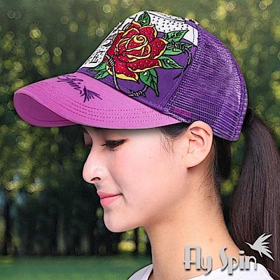 FLYSPIN 骷髏玫瑰刺繡燙鑽街頭街舞網帽