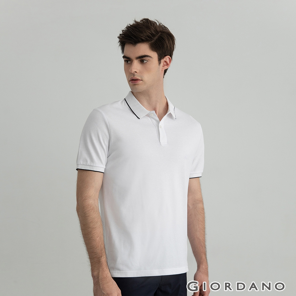 GIORDANO 男裝冰氧吧涼感抗菌POLO衫 - 03 白色