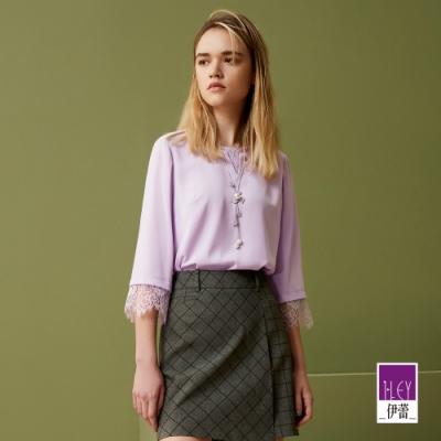 ILEY伊蕾 柔美假兩件睫毛蕾絲上衣(紫)