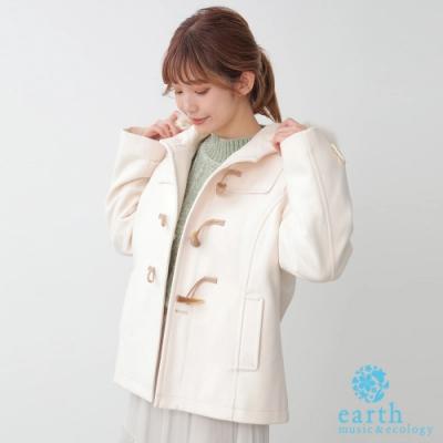 earth music 定番連帽牛角扣大衣外套