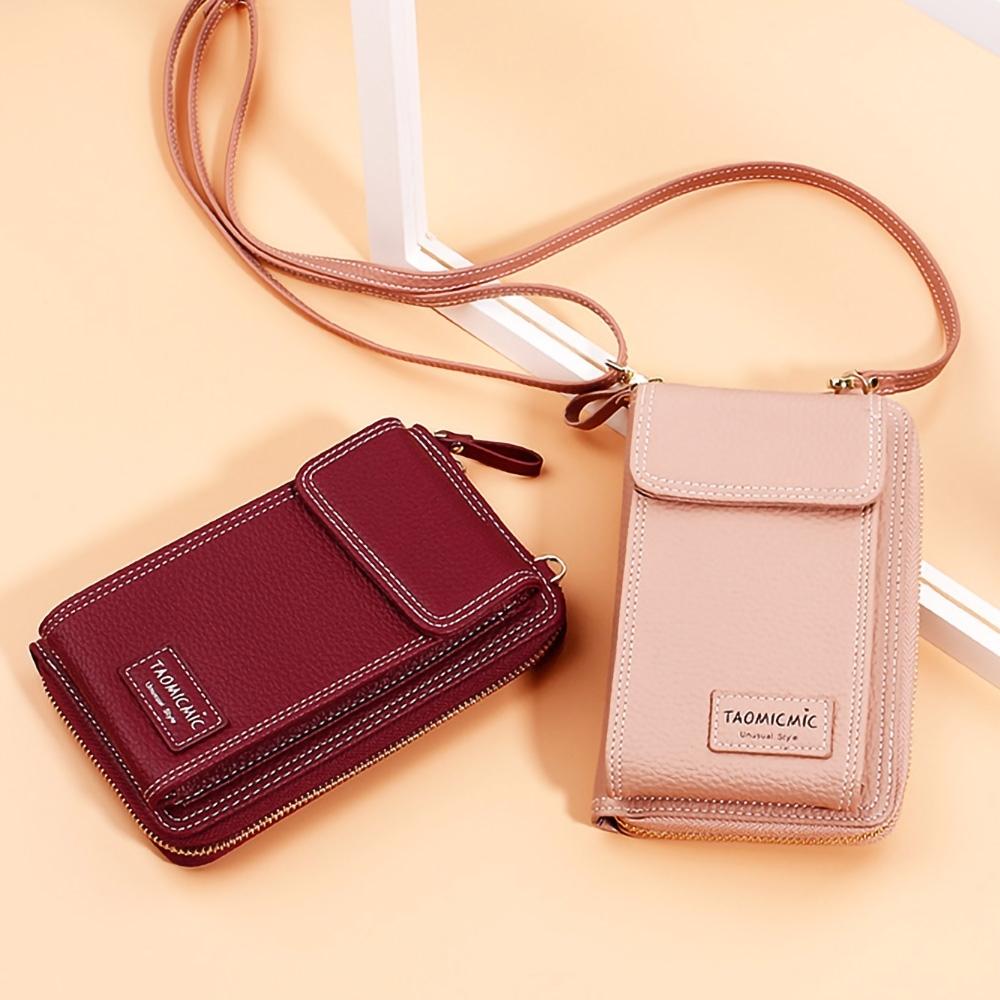 EZlife長版雙層斜跨單肩手機錢包