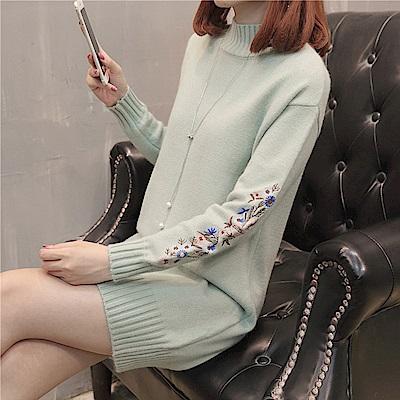 純色刺繡高領洋裝-共8色(F可選)     NUMI 森
