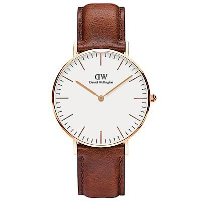DW手錶 官方旗艦店 36mm玫瑰金框 Classic 淺棕真皮皮革