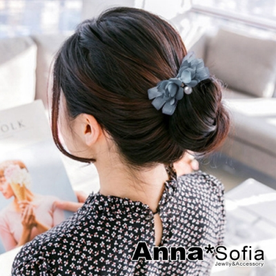【滿額再7折】AnnaSofia 透絲緞綣瓣垂珠 盤髮棒盤髮器髮圈(灰藍系)