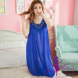 睡衣 全尺碼 冰絲蕾絲背心連身裙睡衣(優質彩藍) Sexy Meteor